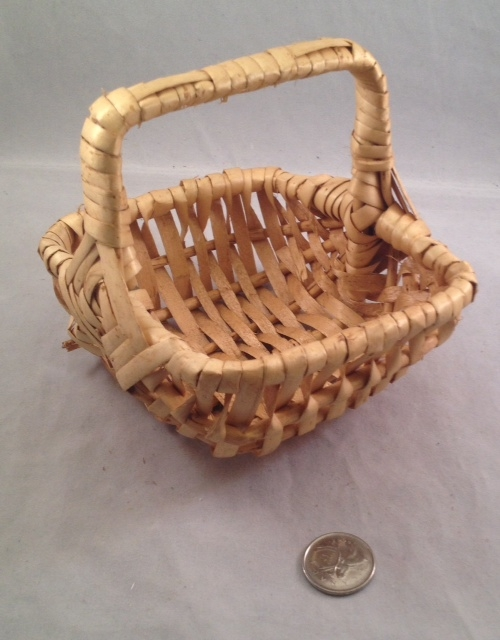 Little Square Willow Handle Basket - Natural - 5.5