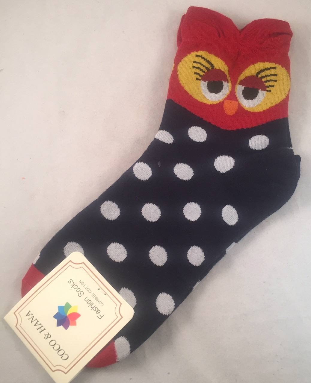 Owl Character Socks - Women's - Red/ Navy