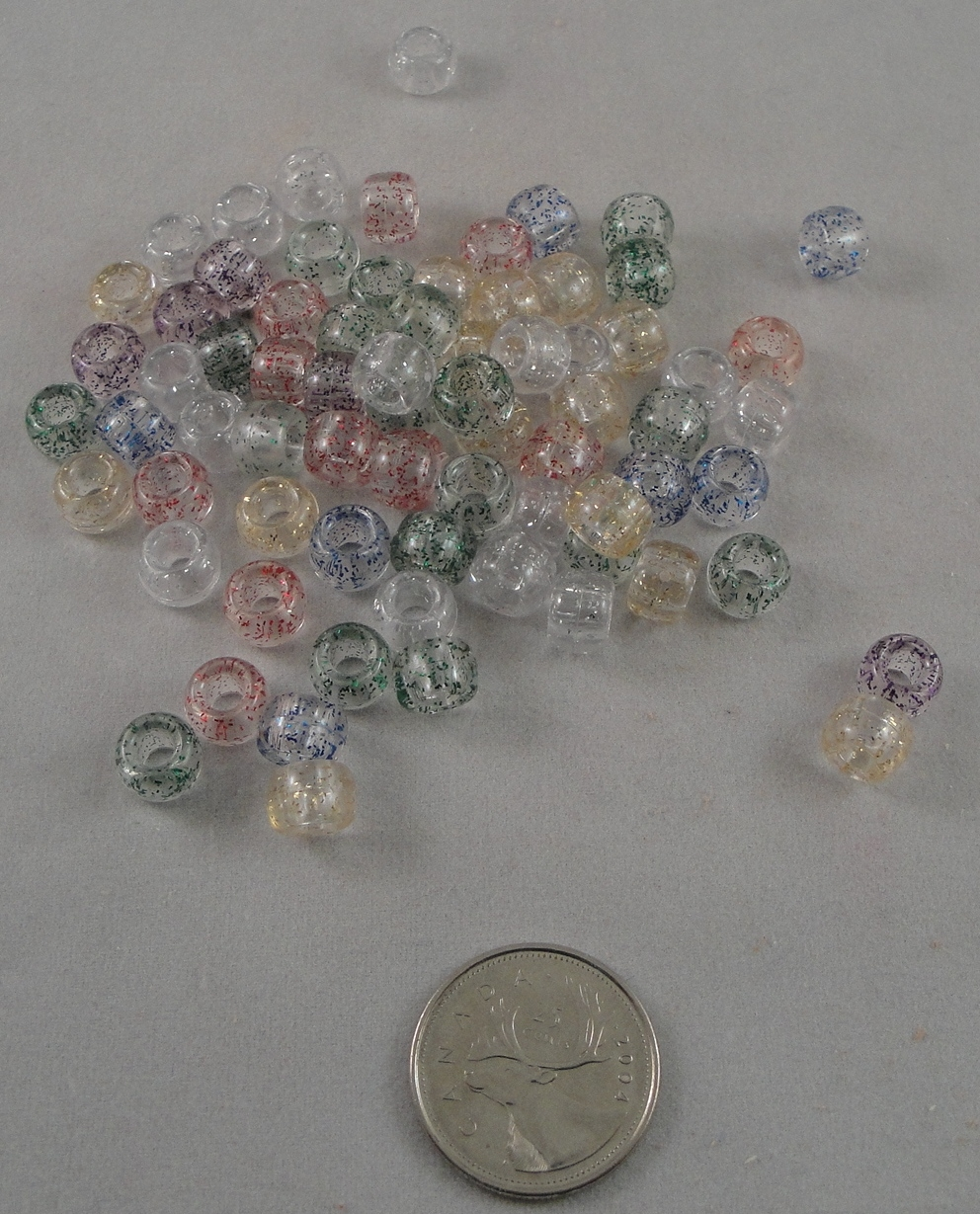 Pony Beads - Transparent Sparkle - 200pc