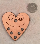 Leather Smiley Heart Toy Base - 2-1/2
