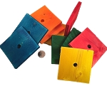 Big Flat Wooden Pine Squares - Coloured - 3.5 x 3.5 x.4