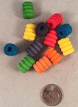 Wooden Ripple Beads - Small - 12pc