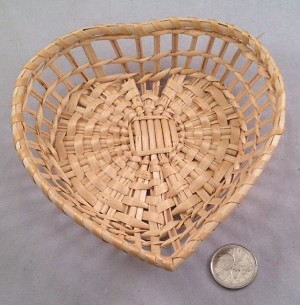 "Heart Willow Basket - Natural - 5"" x 5"" x 1.25"""