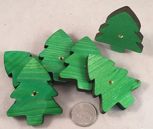 "Canadian Pine Trees - 2"" x 2.5"" - Green - 6pc"