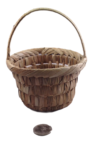"Woven Palm Basket with Handle - 4""d x 5""h"