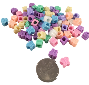 "Cute as a Butterfly Pony Beads - Pastel - 3/8"" - 50pc"