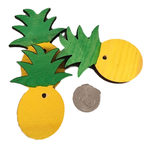 "Canadian Pine Pineapples - 2"" x 3"" - Coloured - 3pc"