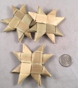 "Woven Palm Star - 3"" - Natural - 3pc"