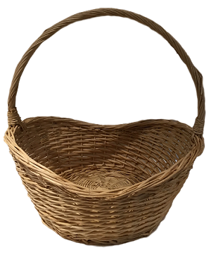 "Willow Oval Handle Basket - Natural - Biggest - 14""d x 16""h"