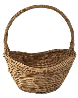 "Willow Oval Handle Basket - Natural - Smallest - 11""d x 13""h"